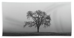 Tree Alone In The Fog Beach Towel