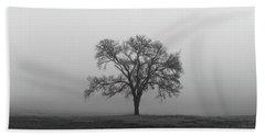 Tree Alone In The Fog Beach Towel