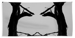 Tree Face I Bw Sq Beach Towel