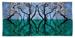 Tree Gate Between Water And Sky Worlds Beach Sheet