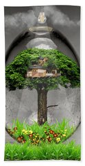 Tree House Art Beach Towel
