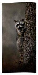 Tree Hugger Raccoon Art Beach Towel