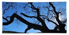 Tree In Rural Hills - Silhouette View Beach Towel