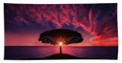 Tree In Sunset Beach Towel