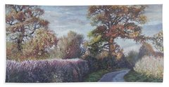 Beach Towel featuring the painting Tree Lined Countryside Road by Martin Davey