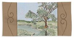 Tree Mirror In Lake Beach Towel