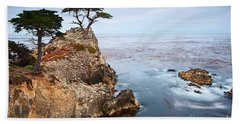Tree Of Dreams - Lone Cypress Tree At Pebble Beach In Monterey California Beach Towel