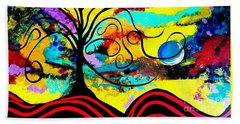 Tree Of Life Abstract Painting  Beach Towel