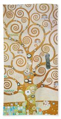 Beach Towel featuring the painting Tree Of Life Detail by Gustav Klimt