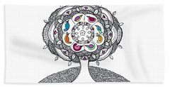 Tree Of Life - Ink Drawing Beach Towel