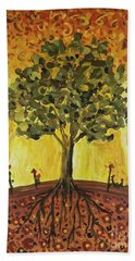 Beach Towel featuring the painting Tree Of Life by Maria Langgle