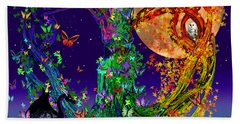 Tree Of Life With Owl And Dragon Beach Towel