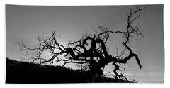 Tree Of Light Silhouette Hillside - Black And White  Beach Towel
