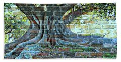 Tree On A Wall Beach Towel