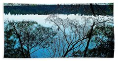 Tree Overhang Reflected In The Water Beach Towel by Joy Nichols