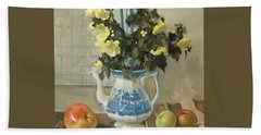 Tree Poppies In Blue And White Coffeepot, Apples Beach Towel
