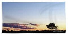 Tree Silhouette By Twilight Beach Towel