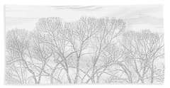 Beach Towel featuring the photograph Tree Silhouette Gray by Jennie Marie Schell