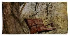 Tree Swing By The Lake Beach Towel