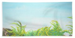 Beach Sheet featuring the painting Tree Tops by Mary Ellen Frazee