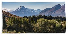 Beach Towel featuring the photograph Tree View Of Mt Cook Aoraki by Gary Eason