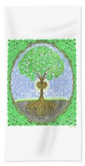 Beach Towel featuring the digital art Tree With Heart And Sun by Lise Winne
