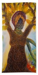 Tree Woman Beach Towel