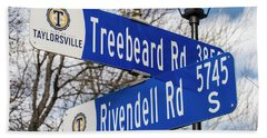 Treebeard And Rivendell Street Signs Beach Sheet by Gary Whitton