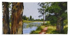 Trees Along The River Beach Towel