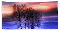 Trees And Twilight Beach Towel