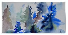 Beach Towel featuring the painting Trees by Beverley Harper Tinsley