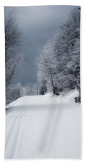 Trees Hills And Snow Beach Sheet by Miguel Winterpacht