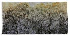 Trees Illuminated By Faint Sunshine, Double Exposed Image Beach Towel