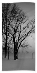 Trees In The Fog Beach Towel