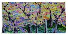 Trees On Hideaway Ct Beach Towel by Lisa Rose Musselwhite