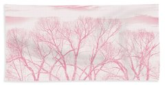 Beach Towel featuring the photograph Trees Silhouette Pink by Jennie Marie Schell