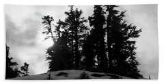 Trees Silhouettes Beach Towel