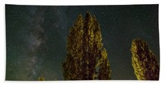 Trees Under The Milky Way On A Starry Night Beach Towel
