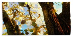 Beach Towel featuring the digital art Treetop Abstract-look Up A Tree by Shelli Fitzpatrick