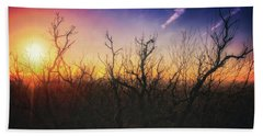 Treetop Silhouette - Sunset At Lapham Peak #1 Beach Sheet by Jennifer Rondinelli Reilly - Fine Art Photography