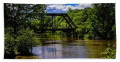 Beach Towel featuring the photograph Trestle Over River by Mark Myhaver