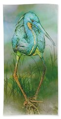 Beach Towel featuring the photograph Tri-colored Heron Balancing Act - Colorized by Patti Deters