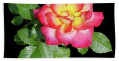 Tri-color Pink Rose2 Cutout Beach Towel