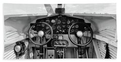 Tri-motor Cockpit - 2017 Christopher Buff, Www.aviationbuff.com Beach Towel