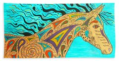 Beach Sheet featuring the painting Tribal Carnival Spirit Horse by Susie WEBER