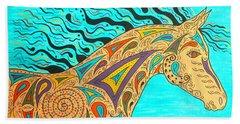 Tribal Carnival Spirit Horse Beach Sheet
