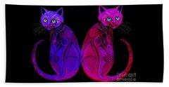 Beach Sheet featuring the digital art Tribal Cats by Nick Gustafson
