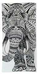 Beach Towel featuring the painting Tribal Elephant by Ashley Price