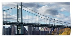 Triboro Bridge In Autumn Beach Towel