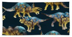 Triceratops Beach Towel by Varpu Kronholm